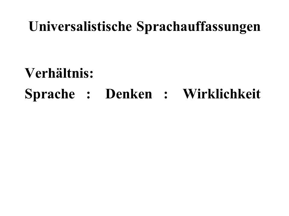 Universalistische Sprachauffassungen Verhältnis: Sprache : Denken : Wirklichkeit
