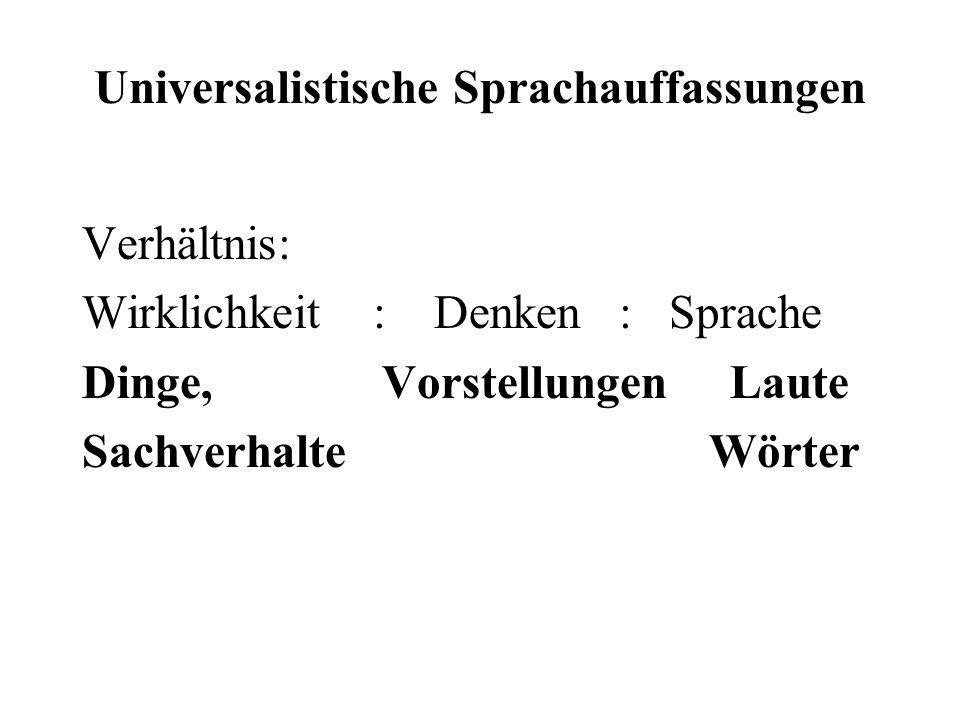 Universalistische Sprachauffassungen Verhältnis: Wirklichkeit : Denken : Sprache Dinge, Vorstellungen Laute Sachverhalte Wörter