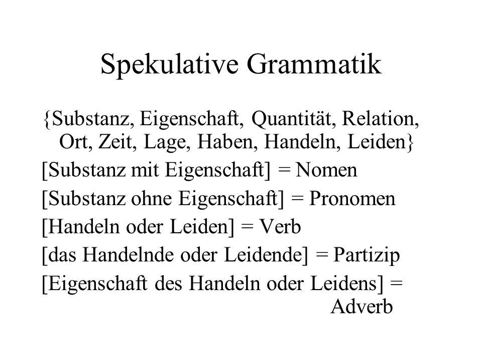 Spekulative Grammatik {Substanz, Eigenschaft, Quantität, Relation, Ort, Zeit, Lage, Haben, Handeln, Leiden} [Substanz mit Eigenschaft] = Nomen [Substa