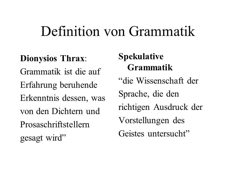 Definition von Grammatik Dionysios Thrax: Grammatik ist die auf Erfahrung beruhende Erkenntnis dessen, was von den Dichtern und Prosaschriftstellern g