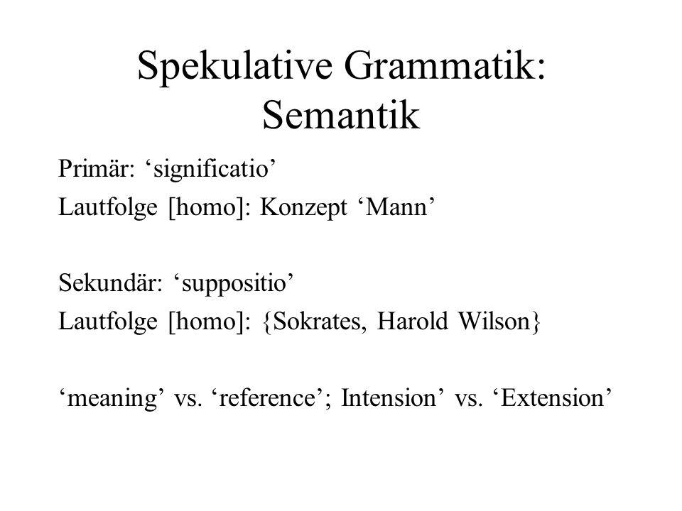 Spekulative Grammatik: Semantik Primär: significatio Lautfolge [homo]: Konzept Mann Sekundär: suppositio Lautfolge [homo]: {Sokrates, Harold Wilson} m