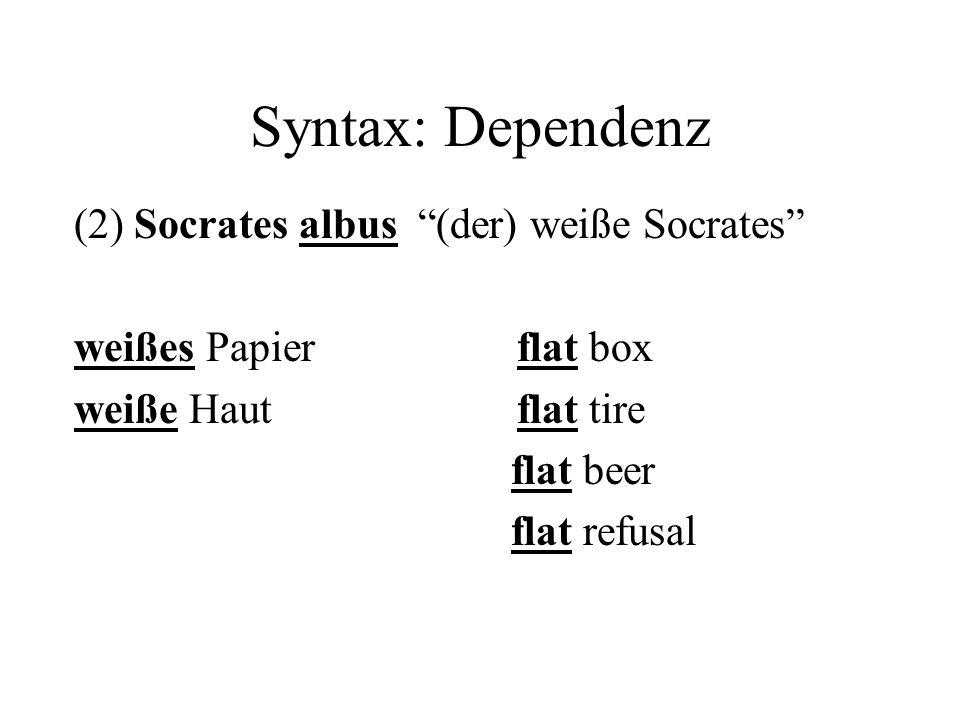 Syntax: Dependenz (2) Socrates albus (der) weiße Socrates weißes Papier flat box weiße Haut flat tire flat beer flat refusal