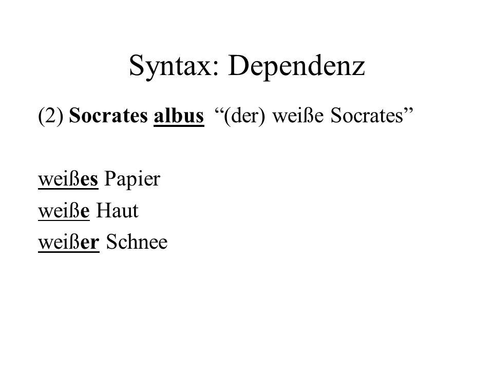 Syntax: Dependenz (2) Socrates albus (der) weiße Socrates weißes Papier weiße Haut weißer Schnee