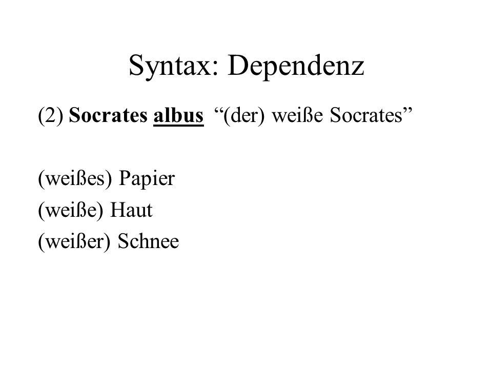 Syntax: Dependenz (2) Socrates albus (der) weiße Socrates (weißes) Papier (weiße) Haut (weißer) Schnee