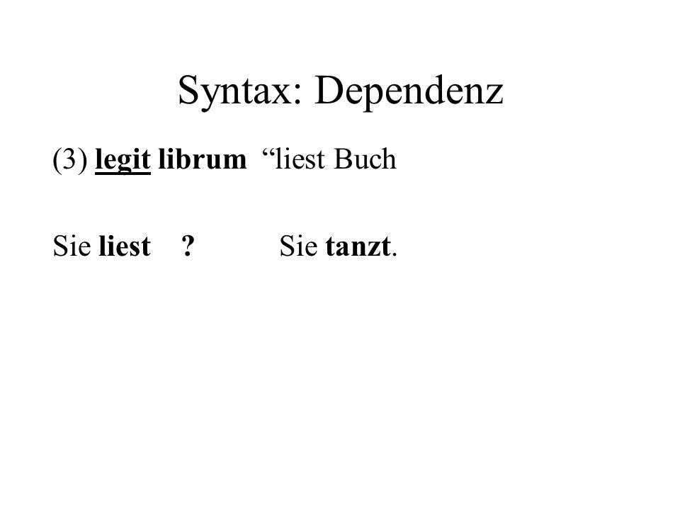 Syntax: Dependenz (3) legit librum liest Buch Sie liest ? Sie tanzt.