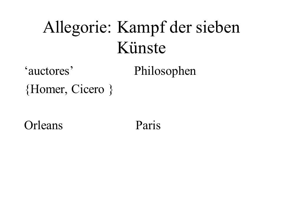 Allegorie: Kampf der sieben Künste auctores Philosophen {Homer, Cicero } Orleans Paris