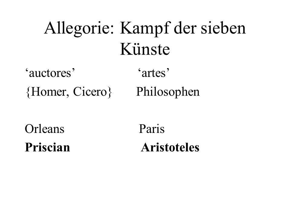 Allegorie: Kampf der sieben Künste auctores artes {Homer, Cicero} Philosophen Orleans Paris Priscian Aristoteles