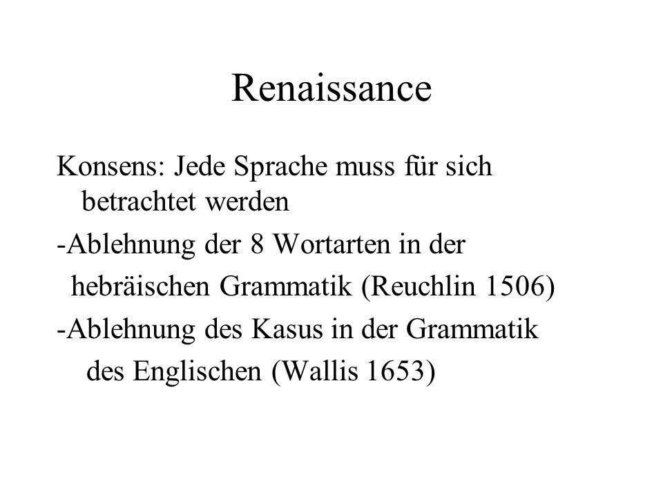 Renaissance Konsens: Jede Sprache muss für sich betrachtet werden -Ablehnung der 8 Wortarten in der hebräischen Grammatik (Reuchlin 1506) -Ablehnung d