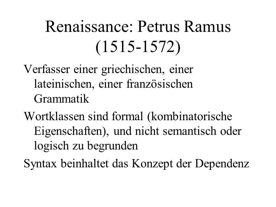 Renaissance: Petrus Ramus (1515-1572) Verfasser einer griechischen, einer lateinischen, einer französischen Grammatik Wortklassen sind formal (kombina
