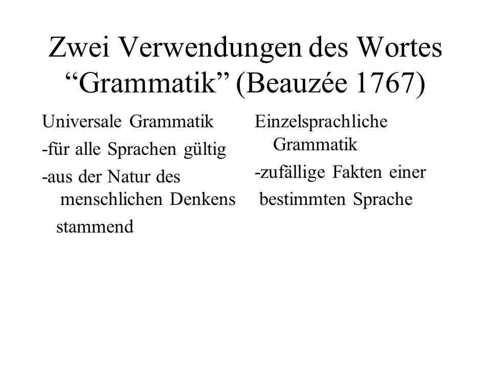 Zwei Verwendungen des Wortes Grammatik (Beauzée 1767) Universale Grammatik -für alle Sprachen gültig -aus der Natur des menschlichen Denkens stammend