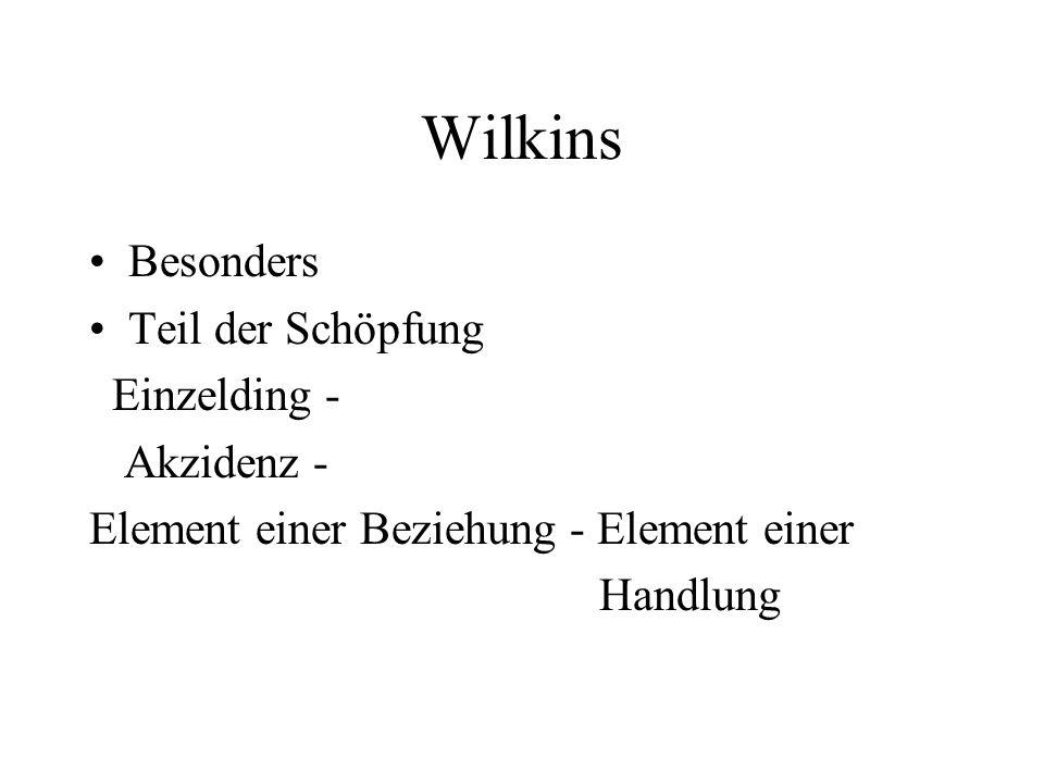 Wilkins Besonders Teil der Schöpfung Einzelding - Akzidenz - Element einer Beziehung - Element einer Handlung