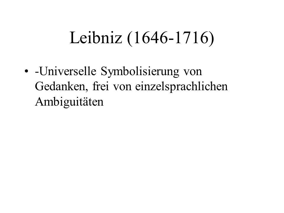 Leibniz (1646-1716) -Universelle Symbolisierung von Gedanken, frei von einzelsprachlichen Ambiguitäten