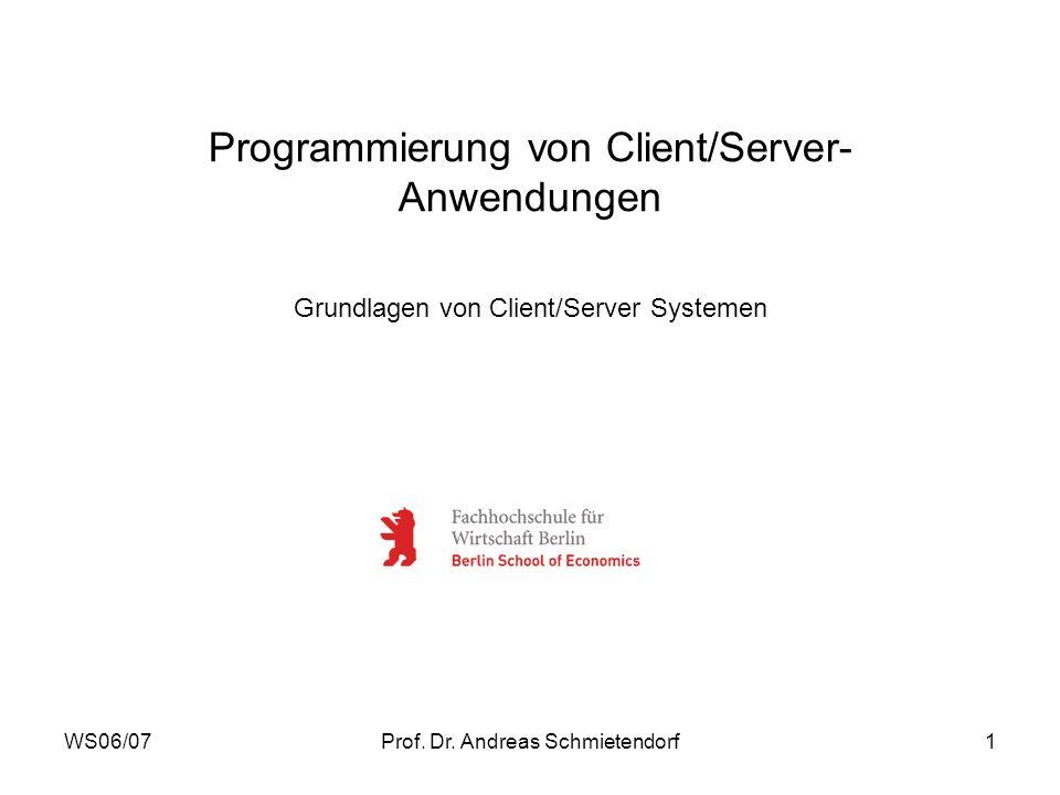 WS06/07Prof. Dr. Andreas Schmietendorf1 Programmierung von Client/Server- Anwendungen Grundlagen von Client/Server Systemen