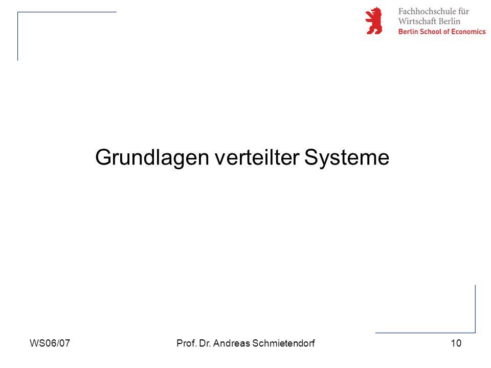 WS06/07Prof. Dr. Andreas Schmietendorf10 Grundlagen verteilter Systeme