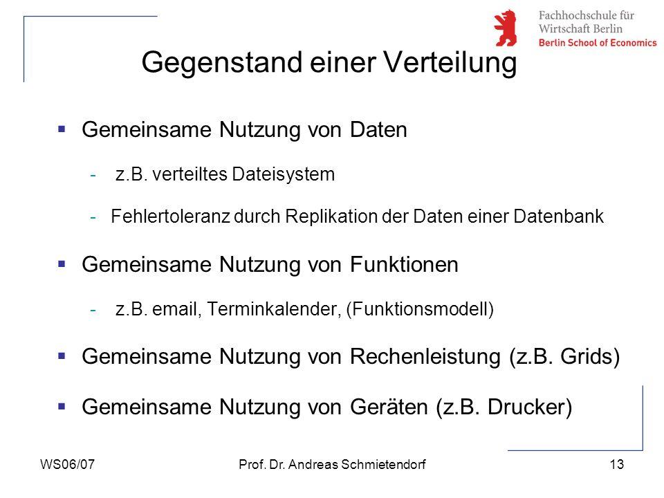WS06/07Prof. Dr. Andreas Schmietendorf13 Gemeinsame Nutzung von Daten - z.B. verteiltes Dateisystem -Fehlertoleranz durch Replikation der Daten einer
