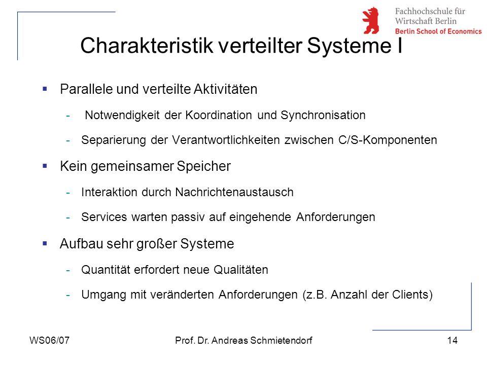 WS06/07Prof. Dr. Andreas Schmietendorf14 Parallele und verteilte Aktivitäten - Notwendigkeit der Koordination und Synchronisation -Separierung der Ver
