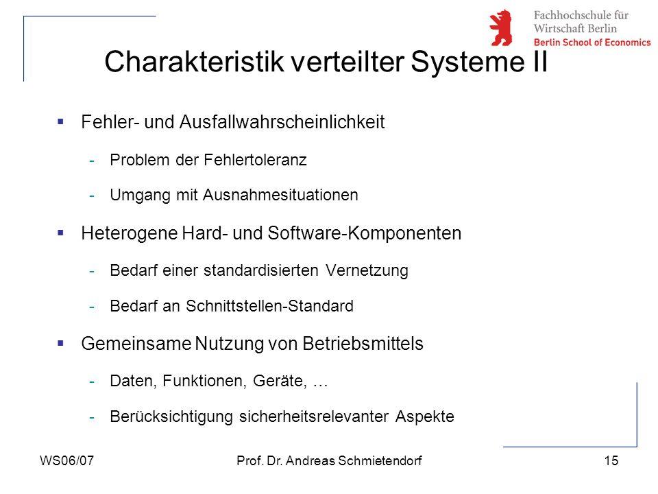 WS06/07Prof. Dr. Andreas Schmietendorf15 Fehler- und Ausfallwahrscheinlichkeit -Problem der Fehlertoleranz -Umgang mit Ausnahmesituationen Heterogene