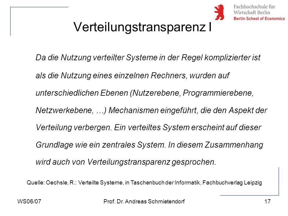 WS06/07Prof. Dr. Andreas Schmietendorf17 Da die Nutzung verteilter Systeme in der Regel komplizierter ist als die Nutzung eines einzelnen Rechners, wu