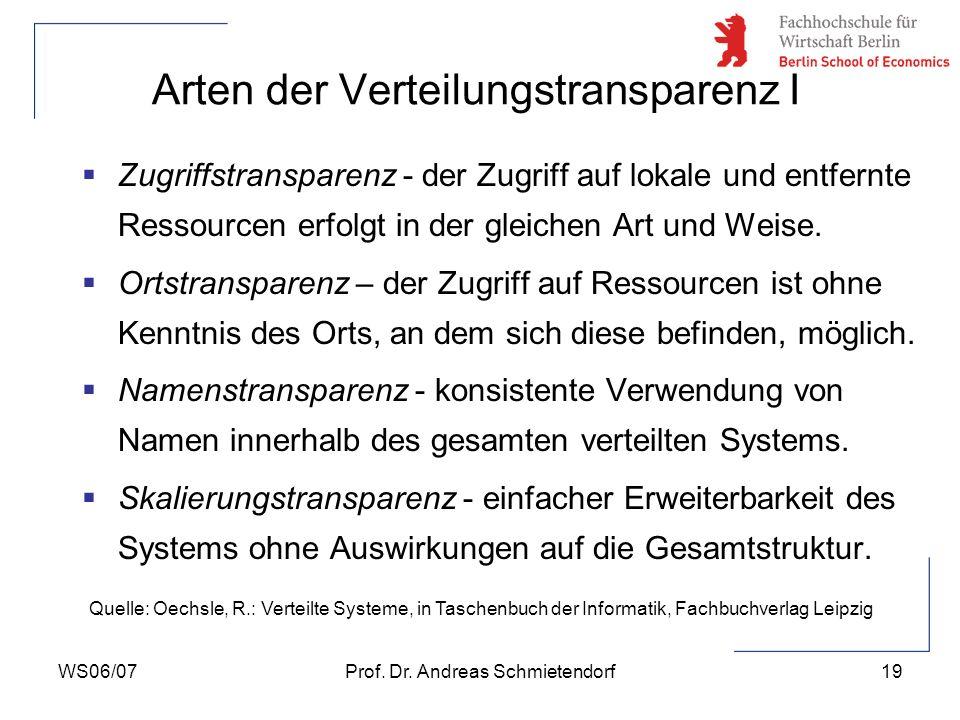WS06/07Prof. Dr. Andreas Schmietendorf19 Zugriffstransparenz - der Zugriff auf lokale und entfernte Ressourcen erfolgt in der gleichen Art und Weise.