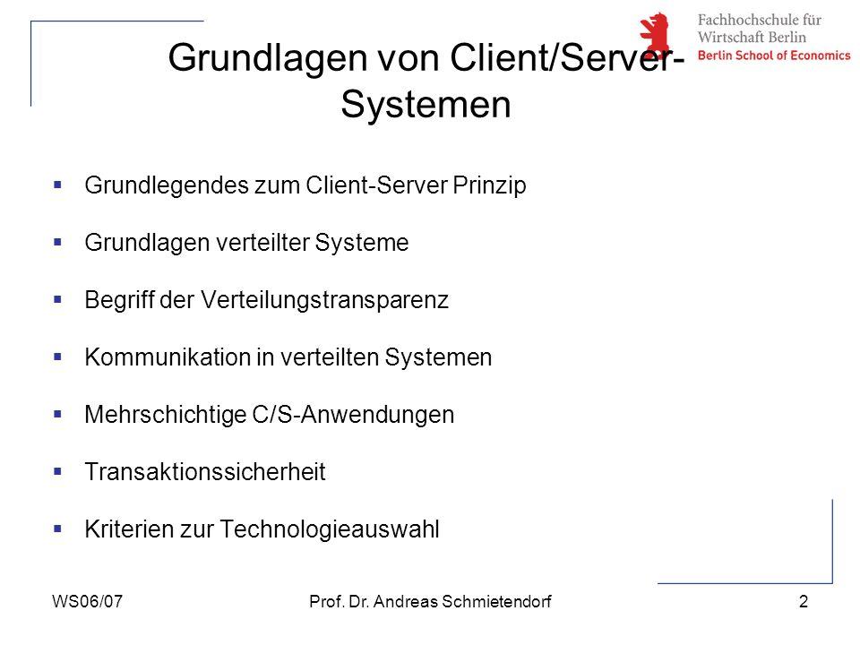 WS06/07Prof. Dr. Andreas Schmietendorf2 Grundlagen von Client/Server- Systemen Grundlegendes zum Client-Server Prinzip Grundlagen verteilter Systeme B