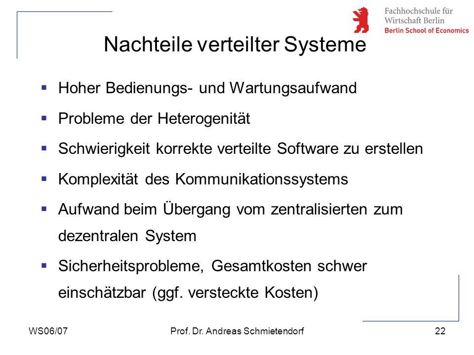 WS06/07Prof. Dr. Andreas Schmietendorf22 Hoher Bedienungs- und Wartungsaufwand Probleme der Heterogenität Schwierigkeit korrekte verteilte Software zu