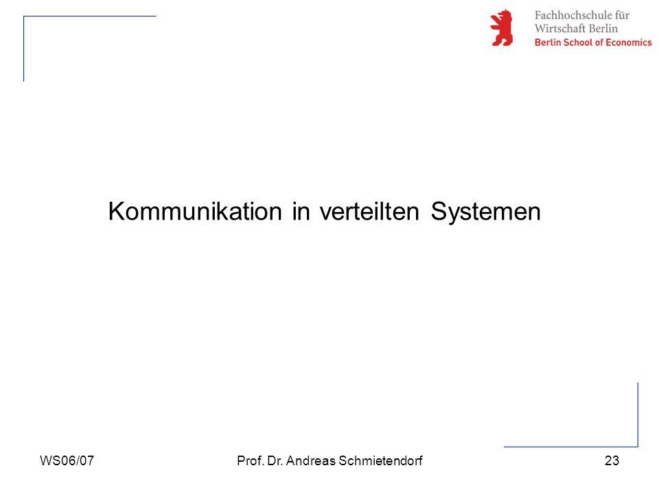 WS06/07Prof. Dr. Andreas Schmietendorf23 Kommunikation in verteilten Systemen