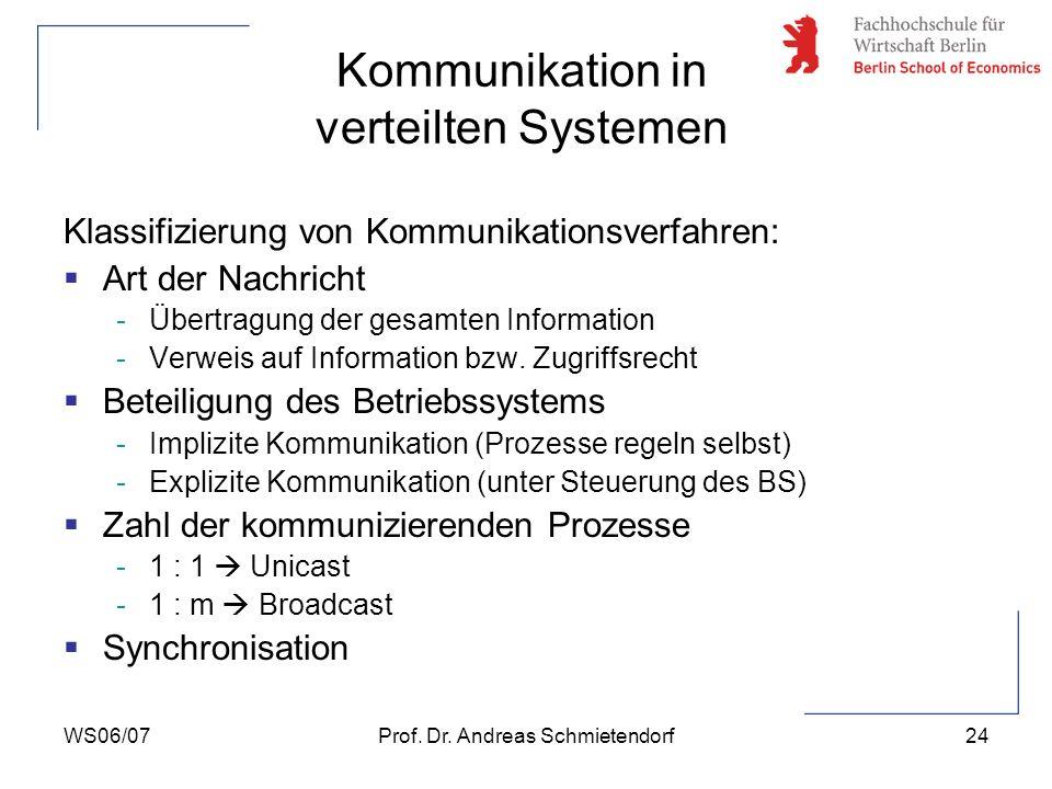 WS06/07Prof. Dr. Andreas Schmietendorf24 Klassifizierung von Kommunikationsverfahren: Art der Nachricht -Übertragung der gesamten Information -Verweis