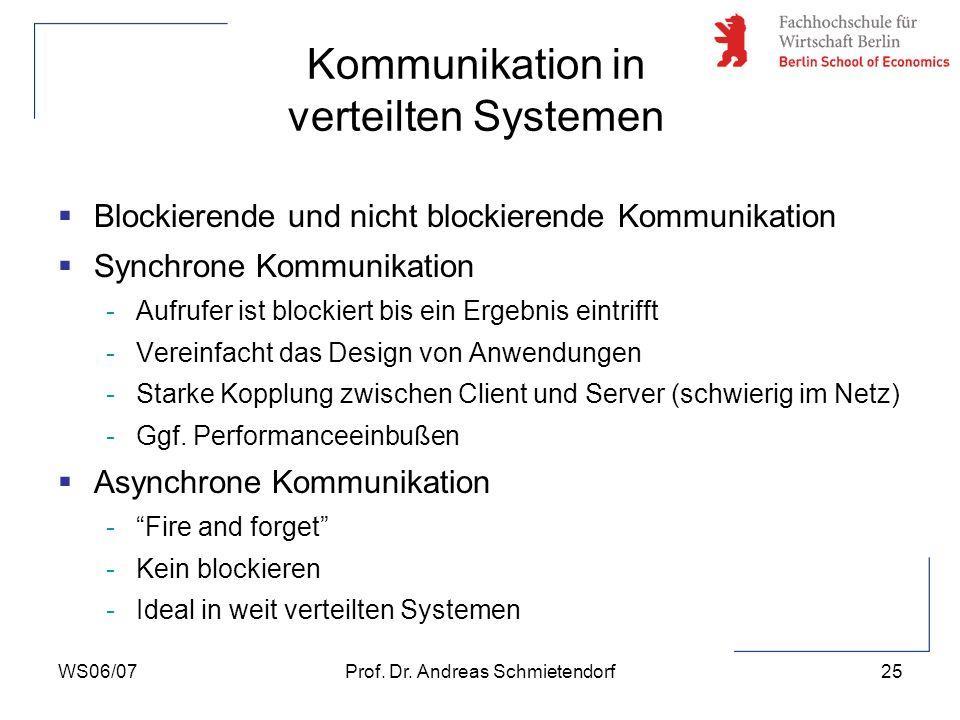 WS06/07Prof. Dr. Andreas Schmietendorf25 Blockierende und nicht blockierende Kommunikation Synchrone Kommunikation -Aufrufer ist blockiert bis ein Erg