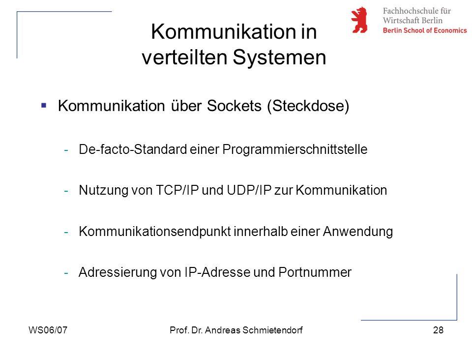 WS06/07Prof. Dr. Andreas Schmietendorf28 Kommunikation über Sockets (Steckdose) -De-facto-Standard einer Programmierschnittstelle -Nutzung von TCP/IP