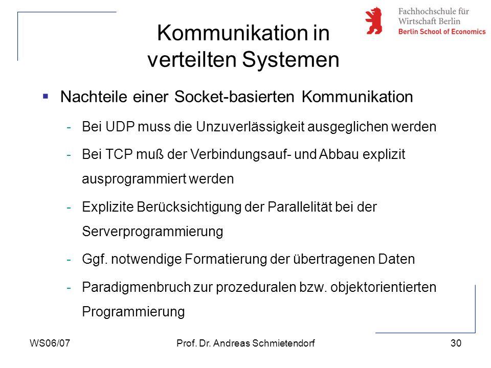 WS06/07Prof. Dr. Andreas Schmietendorf30 Nachteile einer Socket-basierten Kommunikation -Bei UDP muss die Unzuverlässigkeit ausgeglichen werden -Bei T