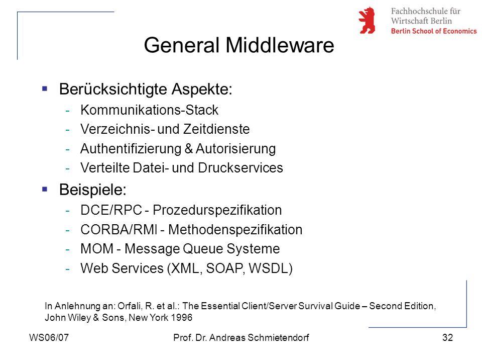 WS06/07Prof. Dr. Andreas Schmietendorf32 Berücksichtigte Aspekte: -Kommunikations-Stack -Verzeichnis- und Zeitdienste -Authentifizierung & Autorisieru