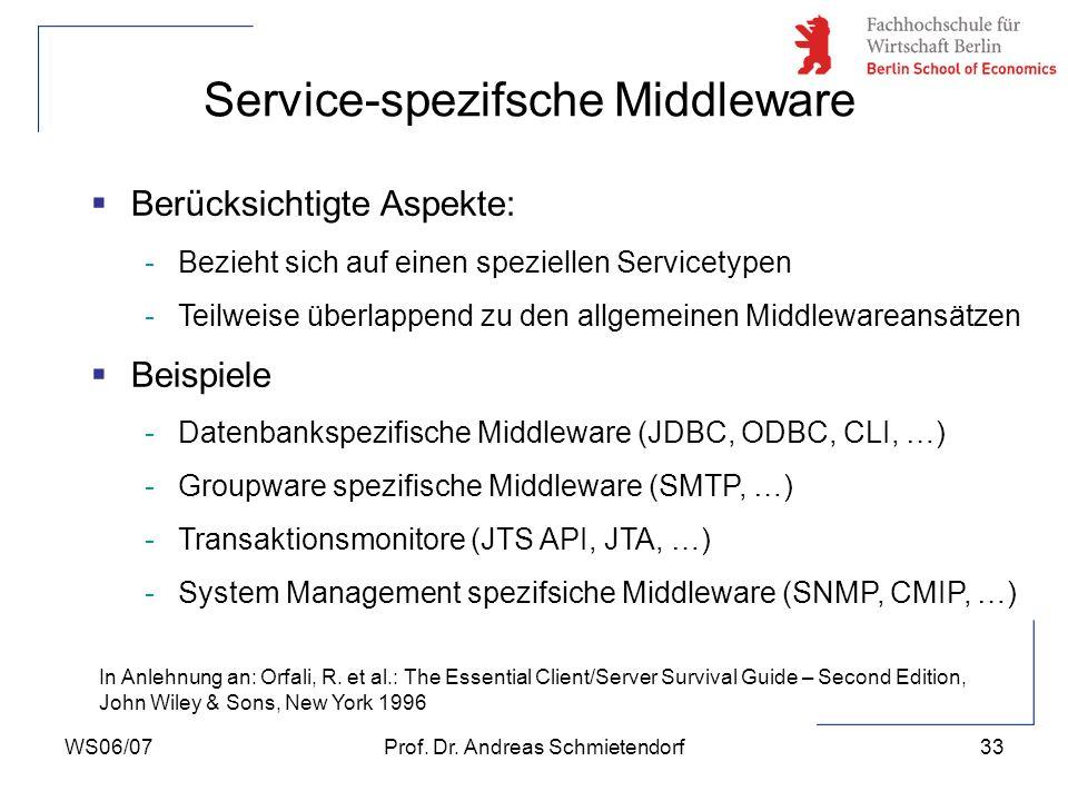 WS06/07Prof. Dr. Andreas Schmietendorf33 Berücksichtigte Aspekte: -Bezieht sich auf einen speziellen Servicetypen -Teilweise überlappend zu den allgem