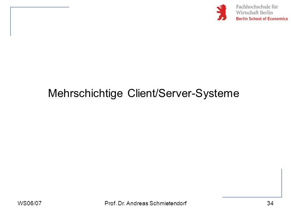 WS06/07Prof. Dr. Andreas Schmietendorf34 Mehrschichtige Client/Server-Systeme