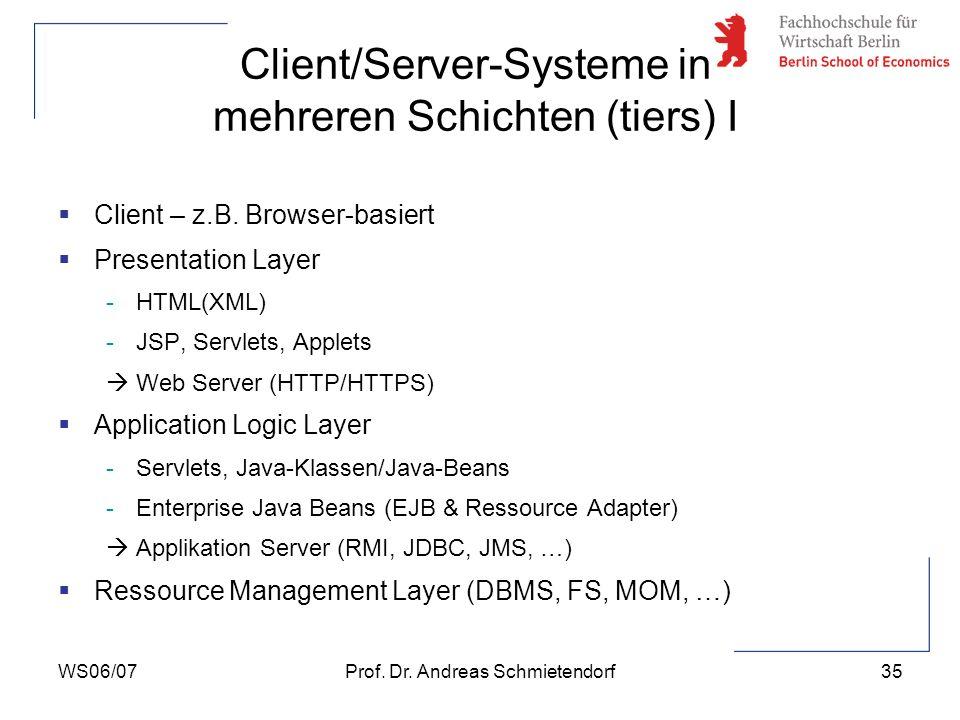 WS06/07Prof. Dr. Andreas Schmietendorf35 Client – z.B. Browser-basiert Presentation Layer -HTML(XML) -JSP, Servlets, Applets Web Server (HTTP/HTTPS) A