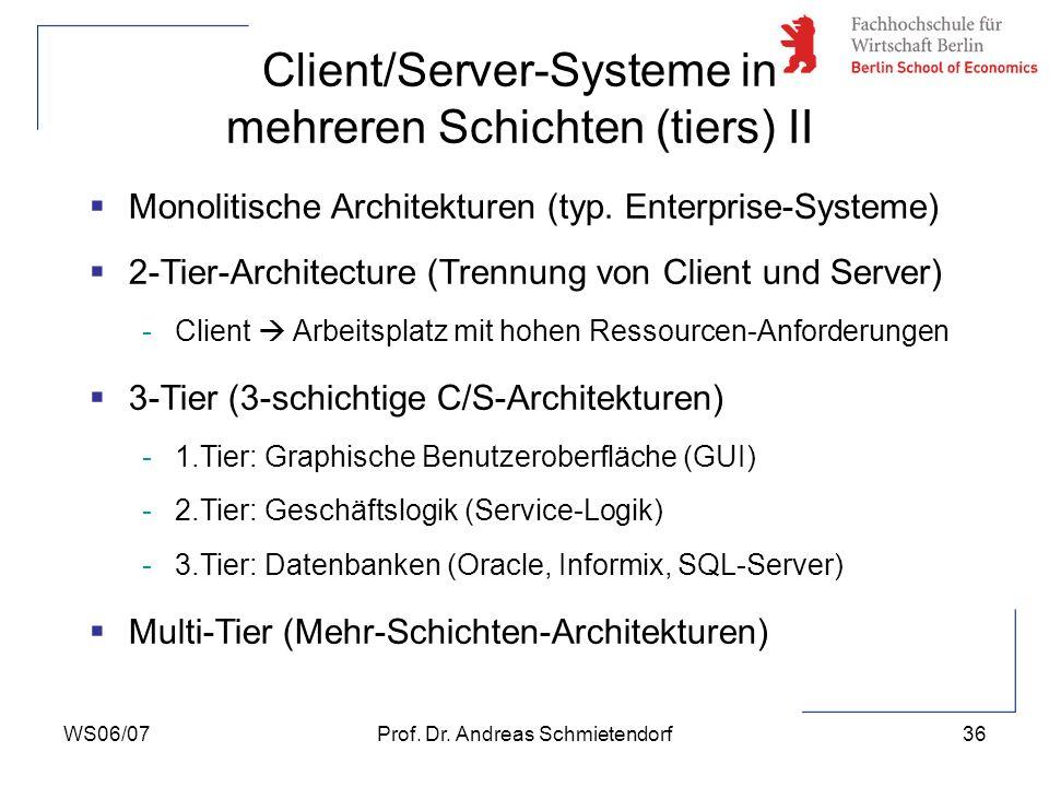WS06/07Prof. Dr. Andreas Schmietendorf36 Monolitische Architekturen (typ. Enterprise-Systeme) 2-Tier-Architecture (Trennung von Client und Server) -Cl