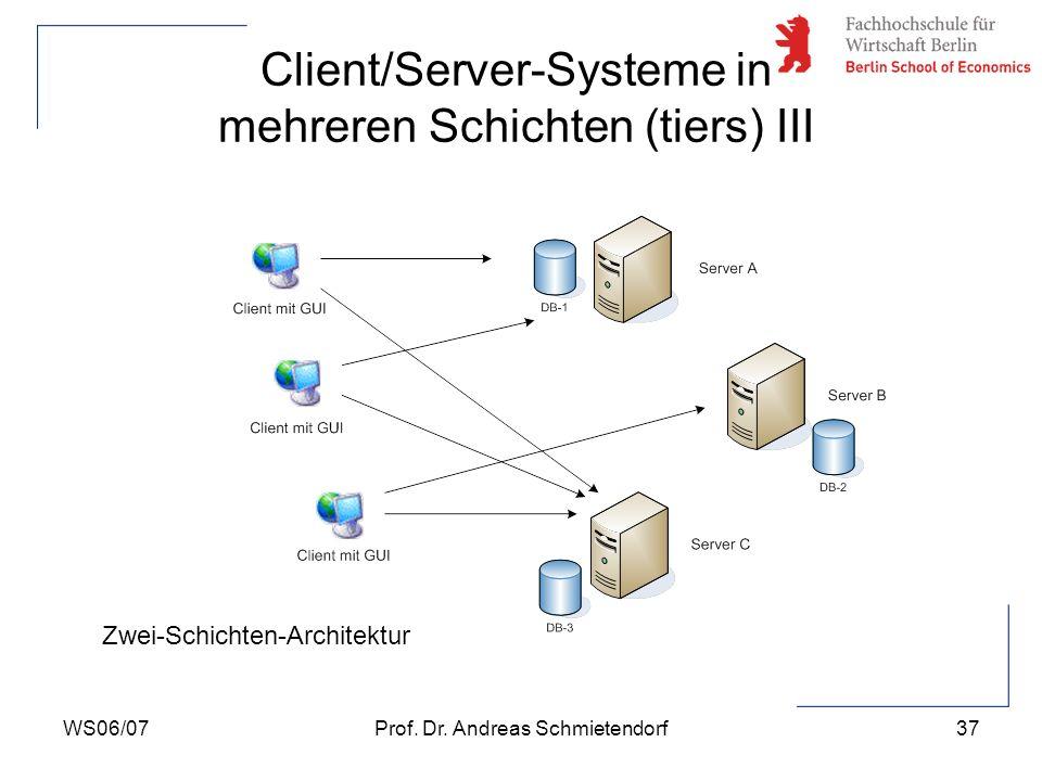 WS06/07Prof. Dr. Andreas Schmietendorf37 Client/Server-Systeme in mehreren Schichten (tiers) III Zwei-Schichten-Architektur
