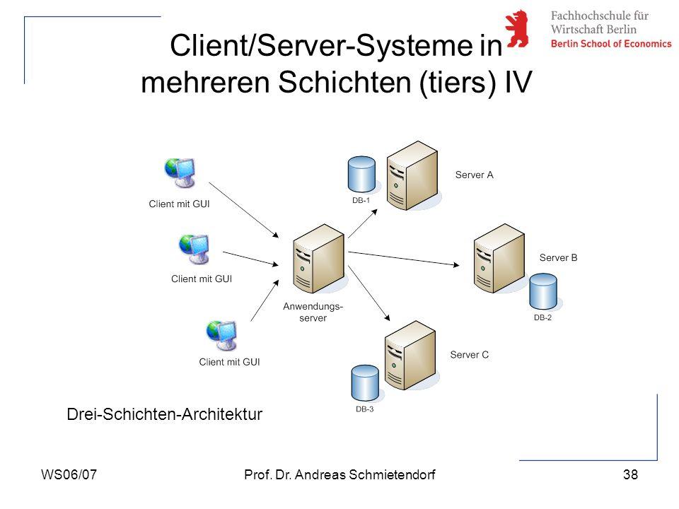 WS06/07Prof. Dr. Andreas Schmietendorf38 Client/Server-Systeme in mehreren Schichten (tiers) IV Drei-Schichten-Architektur