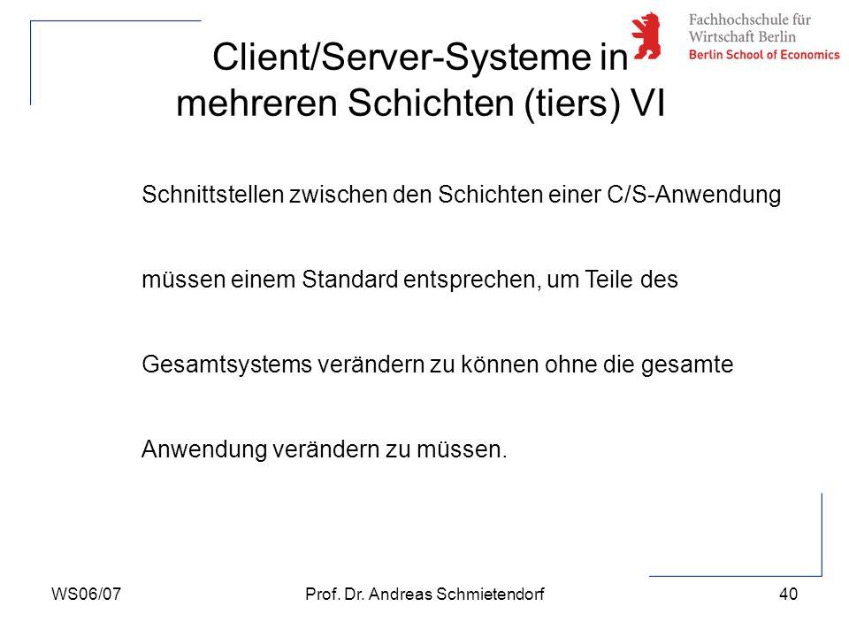 WS06/07Prof. Dr. Andreas Schmietendorf40 Schnittstellen zwischen den Schichten einer C/S-Anwendung müssen einem Standard entsprechen, um Teile des Ges