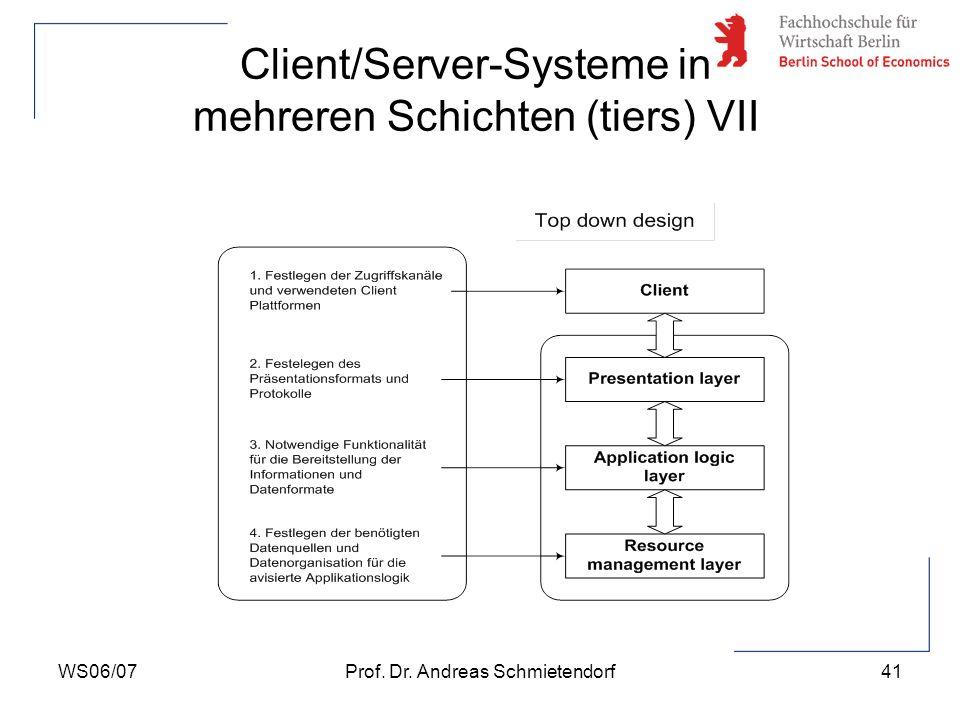 WS06/07Prof. Dr. Andreas Schmietendorf41 Client/Server-Systeme in mehreren Schichten (tiers) VII