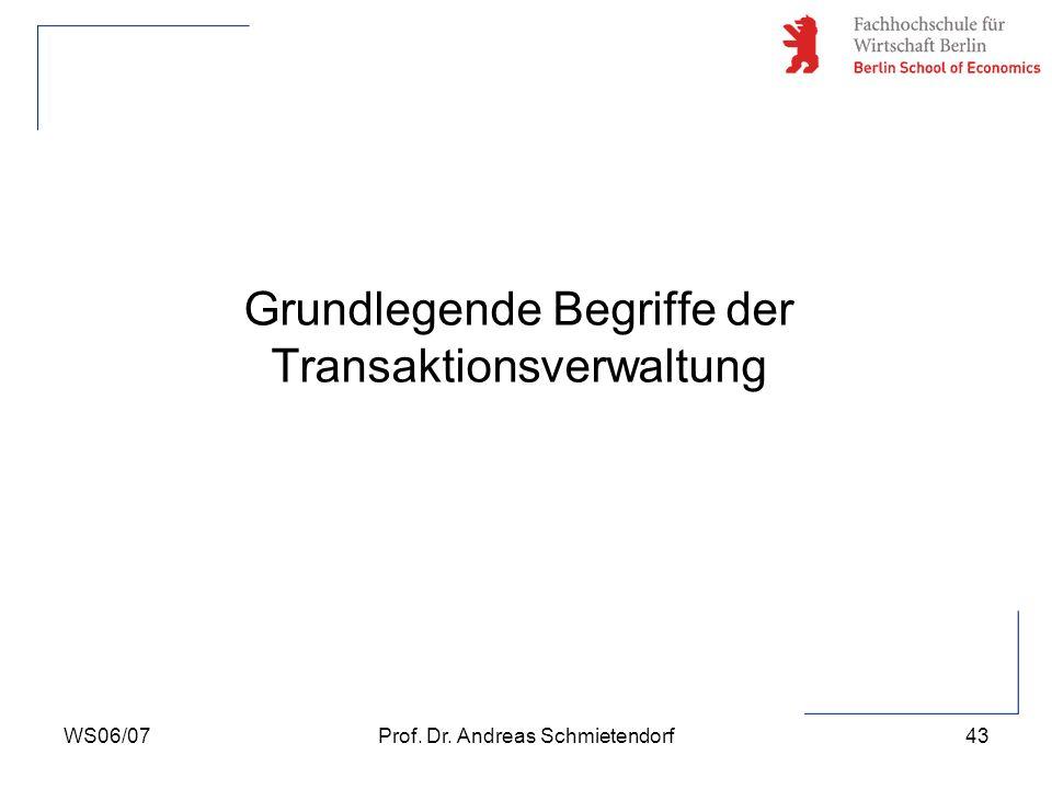 WS06/07Prof. Dr. Andreas Schmietendorf43 Grundlegende Begriffe der Transaktionsverwaltung