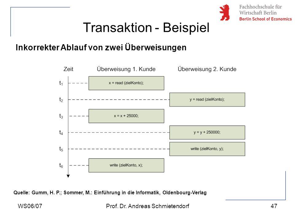 WS06/07Prof. Dr. Andreas Schmietendorf47 Transaktion - Beispiel Inkorrekter Ablauf von zwei Überweisungen Quelle: Gumm, H. P.; Sommer, M.: Einführung