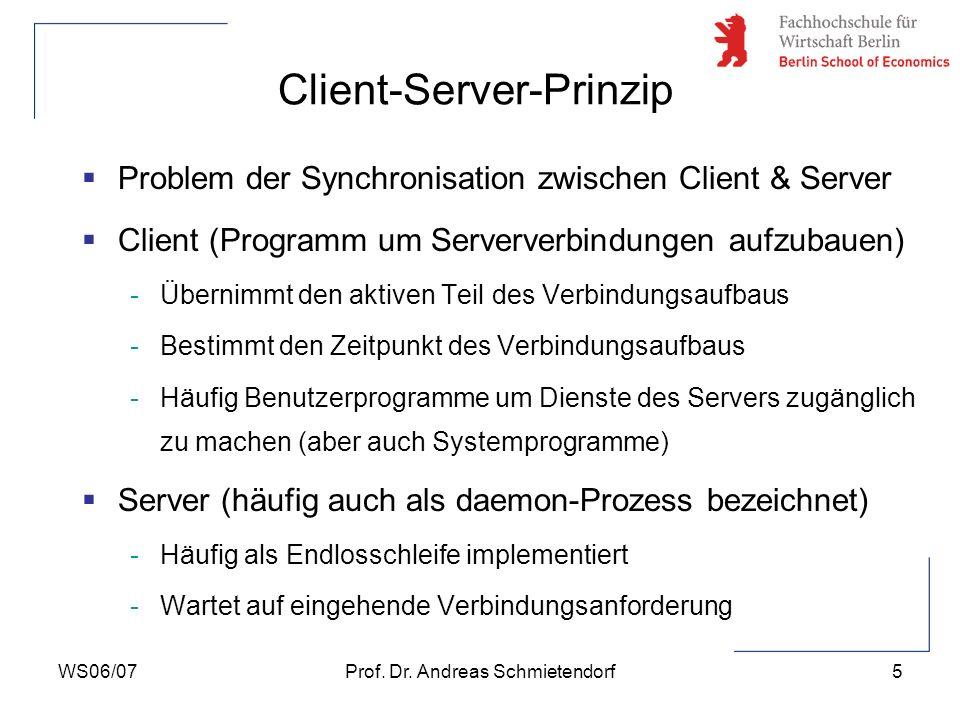 WS06/07Prof. Dr. Andreas Schmietendorf5 Problem der Synchronisation zwischen Client & Server Client (Programm um Serververbindungen aufzubauen) -Übern