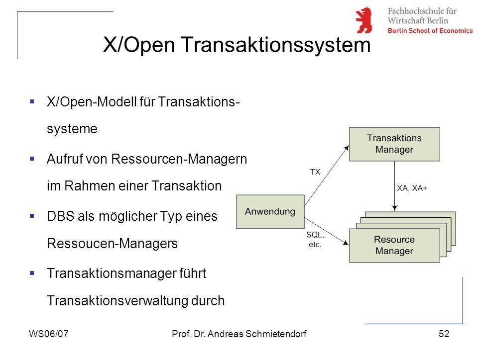 WS06/07Prof. Dr. Andreas Schmietendorf52 X/Open Transaktionssystem X/Open-Modell für Transaktions- systeme Aufruf von Ressourcen-Managern im Rahmen ei