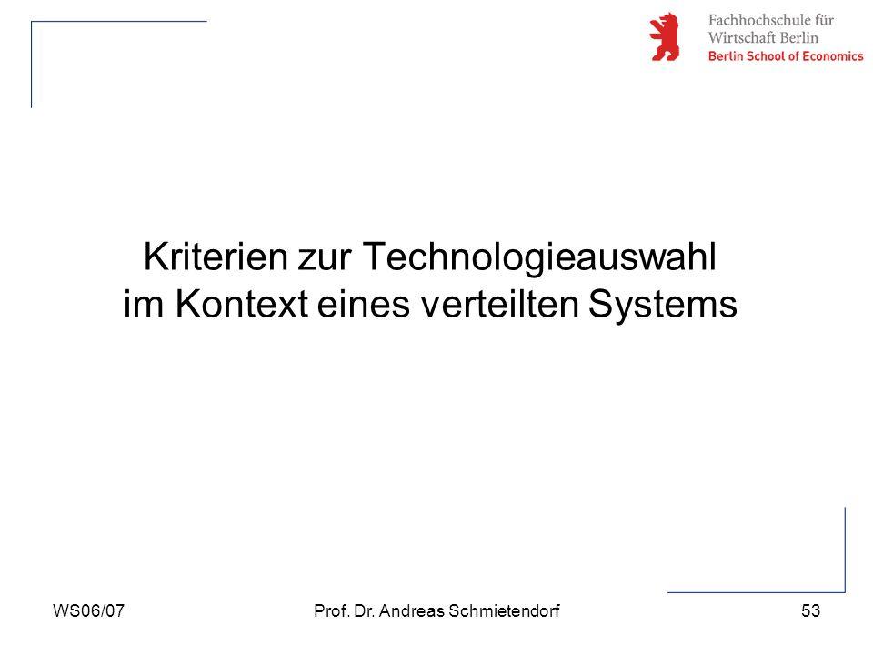 WS06/07Prof. Dr. Andreas Schmietendorf53 Kriterien zur Technologieauswahl im Kontext eines verteilten Systems