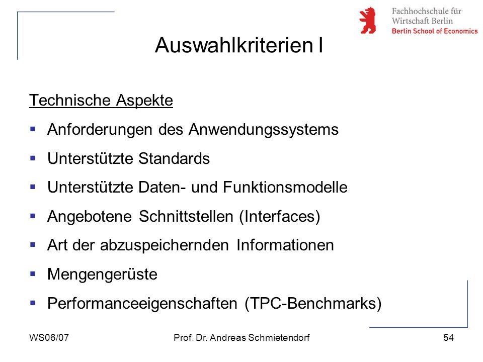 WS06/07Prof. Dr. Andreas Schmietendorf54 Technische Aspekte Anforderungen des Anwendungssystems Unterstützte Standards Unterstützte Daten- und Funktio