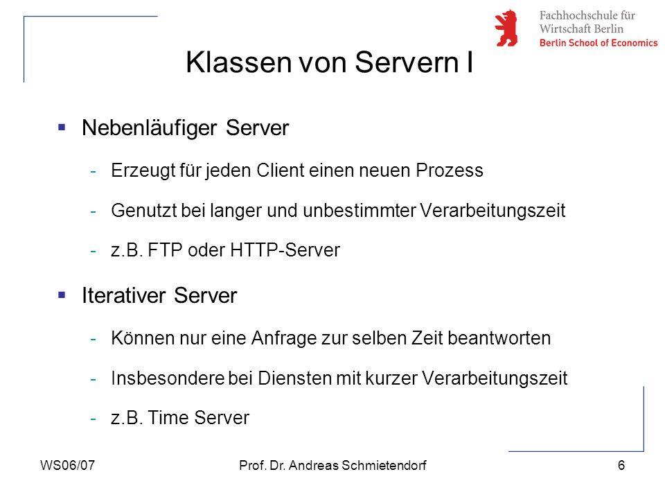 WS06/07Prof. Dr. Andreas Schmietendorf6 Nebenläufiger Server -Erzeugt für jeden Client einen neuen Prozess -Genutzt bei langer und unbestimmter Verarb