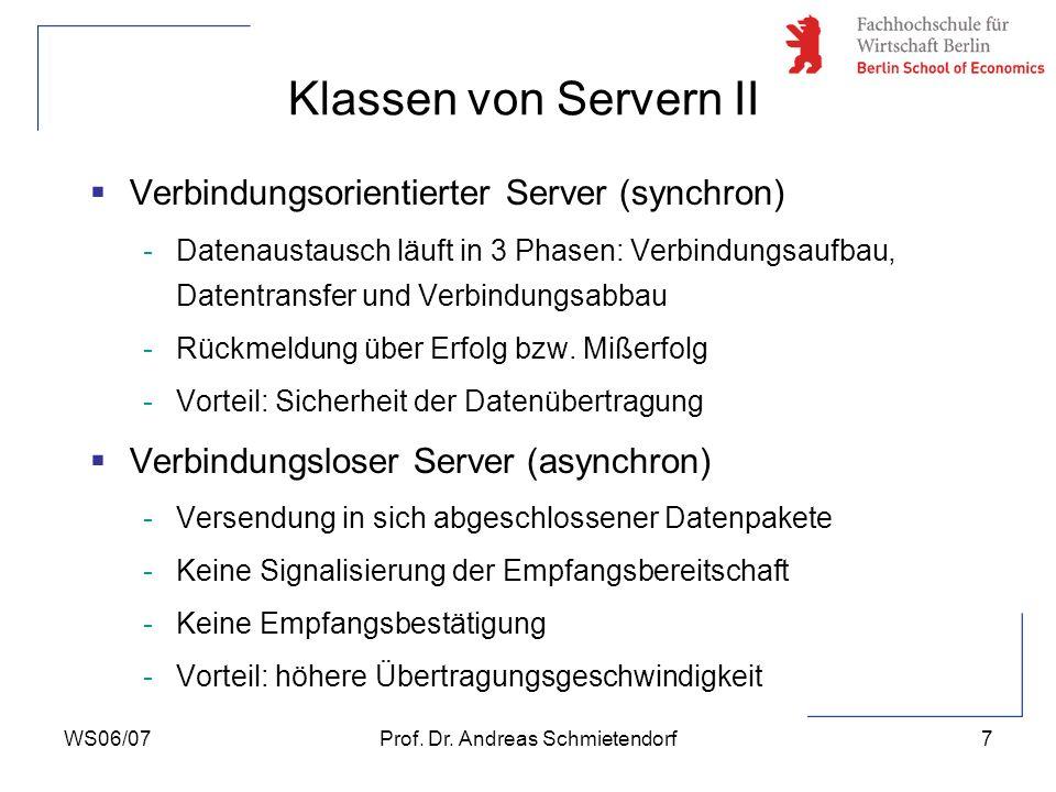 WS06/07Prof. Dr. Andreas Schmietendorf7 Verbindungsorientierter Server (synchron) -Datenaustausch läuft in 3 Phasen: Verbindungsaufbau, Datentransfer