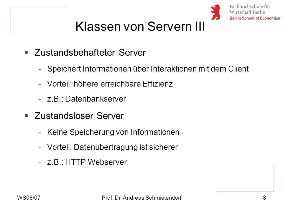 WS06/07Prof. Dr. Andreas Schmietendorf8 Zustandsbehafteter Server -Speichert Informationen über Interaktionen mit dem Client -Vorteil: höhere erreichb