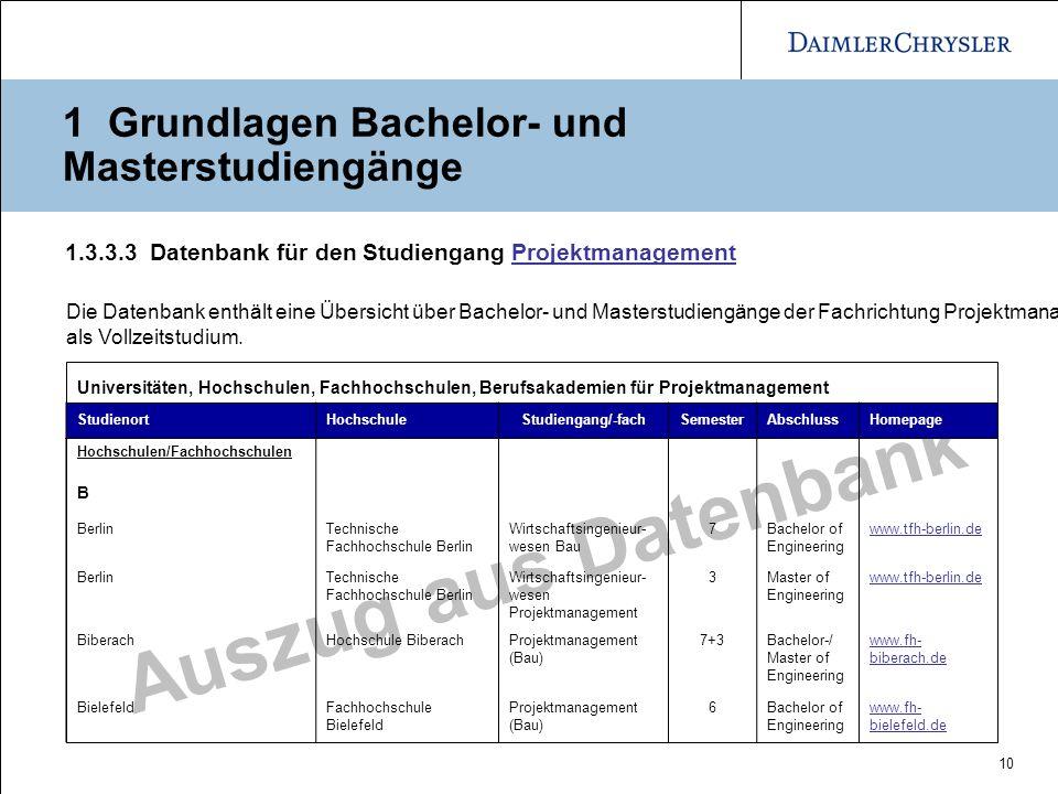 10 Auszug aus Datenbank 1.3.3.3 Datenbank für den Studiengang ProjektmanagementProjektmanagement Die Datenbank enthält eine Übersicht über Bachelor- u