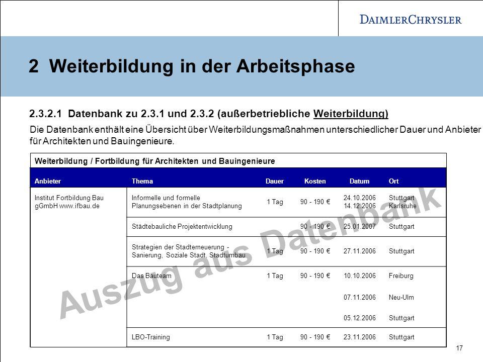 17 Auszug aus Datenbank 2.3.2.1 Datenbank zu 2.3.1 und 2.3.2 (außerbetriebliche Weiterbildung) Weiterbildung / Fortbildung für Architekten und Bauinge